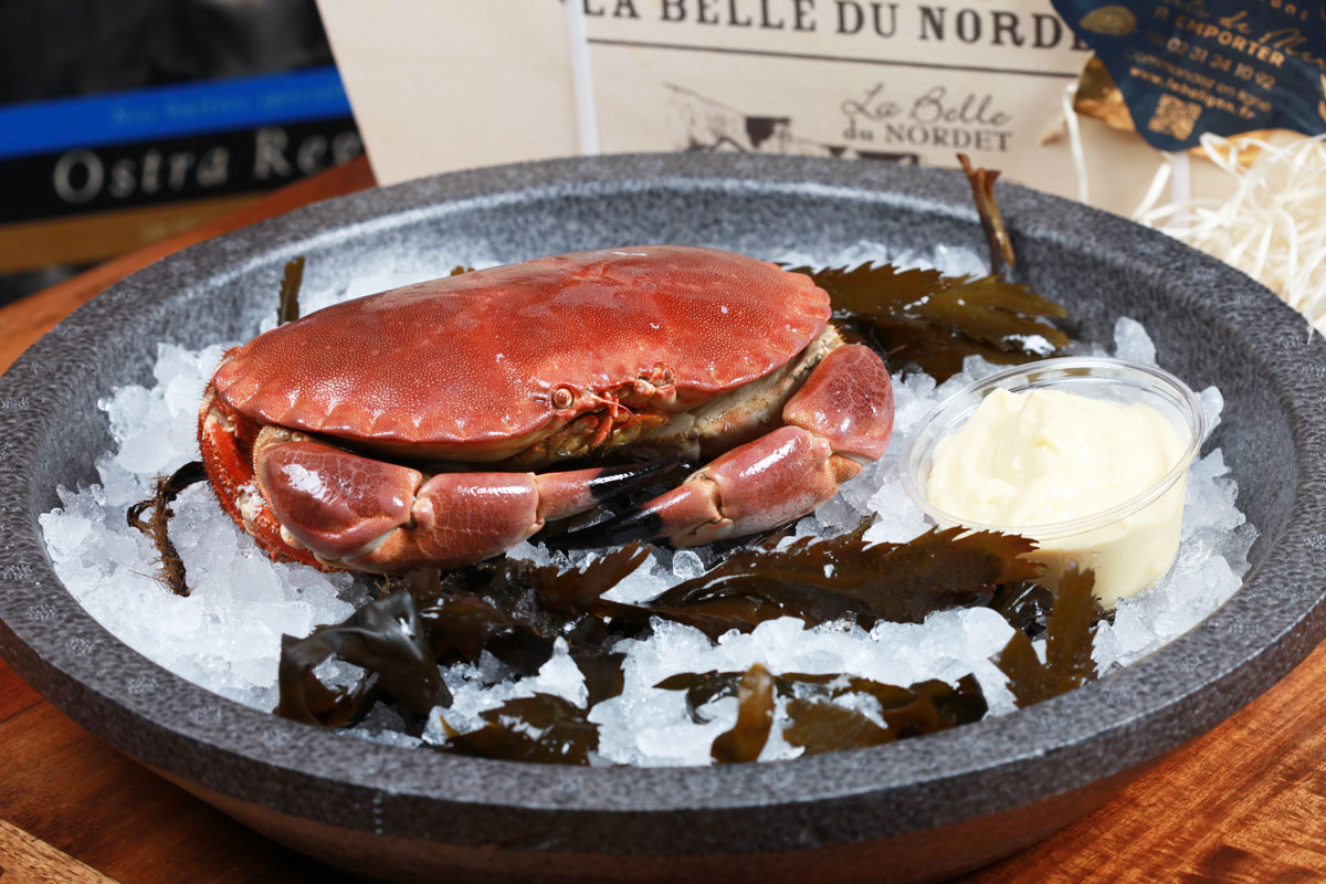 plateau de fruits de mer à emporter, crabe